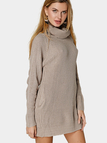 Apricot Fashion High Neck Sweater With Side Pocket