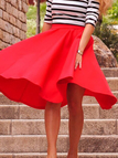 Red Midi Skater Skirt with Ruffled Hem