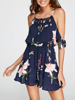 Lace-up Square-neck Random Floral Print Playsuit in Navy
