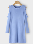 Baby Blue Cold Shoulder Ruffle Trim Round Neck Long Sleeves Mini Dress