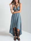 Plunge Lace Insert Cut Out High Low Hem Maxi Dress in Grey-blue