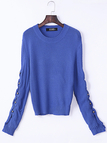 Pullover Plain Blue Color Hollow Out Sleeves Detail Sweater