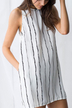 Sleeveless Stripe Pattern Transparent Mini Dress