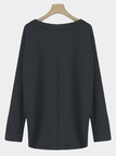 Black Plain Knitting V-neck Long Sleeves  Loose T-shirt