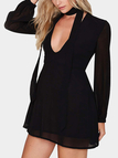 Black Plunging Neck Long Sleeve Dress with Bow