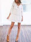 Loose See-through Crochet Lace Splicing Swing Semi-sheer Dress