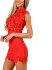 Red Sexy Lace Details Hollow Mini Dress