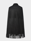 Black Suede Cape with Fringed Detail
