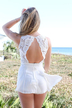 White Lace Open Back Round Neckline Sleeveless Playsuit