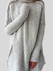 Silver Roll Neck Long Sleeves Sleeves Dropped Shoulder Sweater