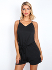 Black Sexy V-neck Drawstring Waist Playsuit