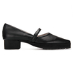 Black Leather Look Pointed Toe Toothlike Sole Flats