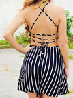 Stripe Pattern Backless Cami Dress