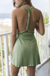 Light Green Self-tie Design Backless Dress