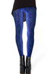 Blue Velvet Leggings with Geometric Printing