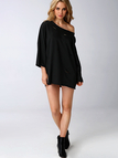 Black Loose Wide Sleeves Hollow Out Sweatshirt