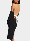 Black Cold Shoulder Long Sleeves Backless Design Halter Dress
