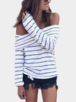 White Stripe Off Shoulder Long Sleeves Loose Sweaters