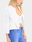 White Pleated Design Flared Sleeves Cardigan