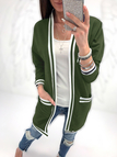 Green Two Large Pockets Long Sleeves Loose Cardigans