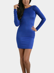 Blue Sexy Bodycon Open Back Mini Dress with Long Sleeves