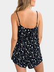 Ruffled Design Random Floral Print Playsuits in Navy Blue