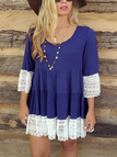 Long Sleeve Round Neck Ruffled Hem Mini Lace Dressess in Blue