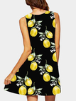Black Casual Lemon Print Mini Dress