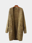 Longline Cardigan in Tan Marl