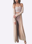 Fashion Apricot Strapless Crop top with Pants Co-ords