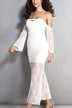 White Off Shoulder Long Sleeves Maxi Party Dress with Lace Details