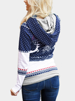 Navy Hooded Design Printed Pullover Sweatshirt