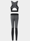 Active Stitching Design Vest % Leggings in Black and Grey