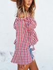 Red Off-The-Shoulder Bell Sleeves Grid Top