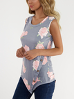 Grey Floral Print Round Neck Button-down Asymmetrical Top