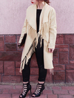 Apricot Long Sleeves Lapel Collar Tassels Details Trench Coat Outerwear
