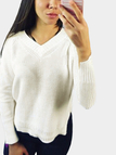 White Lace-up Design V-neck Long Sleeves Splited Sweater