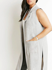 Plus Size Splited Side Pockets Gilet