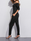 Black Off Shoulder Side Pockets Hallen Jumpsuit
