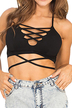 Black Lace-up Crop Top with Self-tie Back