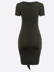 Army Short Sleeves Wrap Bodycon Dress with Self-tie