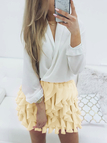 Beige Distinctive Wave Layer Design Elastics Waist Mini Skirt