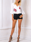 White Vintage V-neck Cut Out Back Random Rose Embroidery Flare Sleeves Top