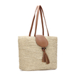 Straw-Woven Lined Beach Bag in Beige with Flap Top and Tassel
