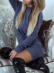 Navy Backless Design Round Neck Long Sleeves Dresses