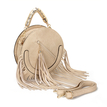 Round Leather-look Fringe Gold Top Handle Bag in Beige
