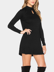 Black Mini Dress in Rib with Keyhole