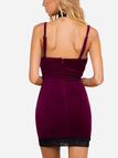 Burgundy Velvet Adjustable Straps Spaghetti Dress with Lace Details
