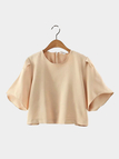 Flared Sleeve Round Neckline Crop Top