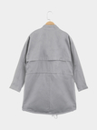 Grey Loose Fit Trench Coat With Drawstring Waist